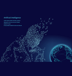 artificial intelligence human and globe vector image
