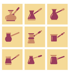 Assembly flat icons coffee arabic turk vector