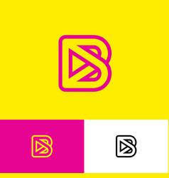 b logo monogram linear letter player multimedia vector image