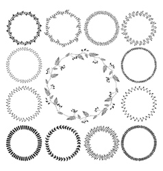 Big collection circle cute hand drawn floral vector