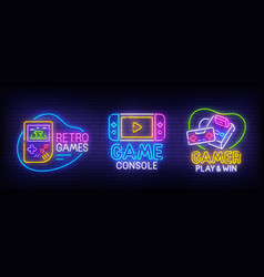 big set neon billboard retro games gamer vector image