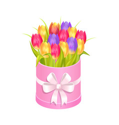 Bouquet of tulips in box vector