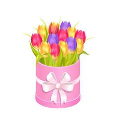 Bouquet tulips in box vector