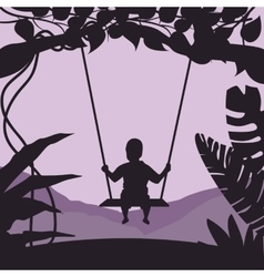Boy swing in tree enjoy time moment silhouette vector