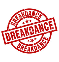 Breakdance round red grunge stamp vector