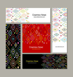Business cards set abstract geometric design vector