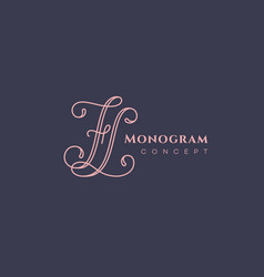 Calligraphic monogram fl vector