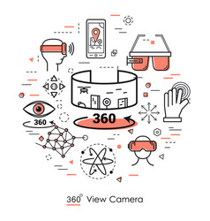 Camera view 360 - red line art vector