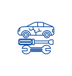 car service line icon concept car service flat vector image