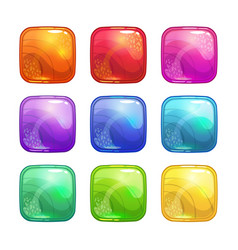 cartoon colorful square glossy buttons set vector image