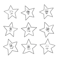 cartoon faces emotions set of festive fun stars vector image
