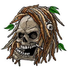 cartoon jamaican wild skull with dreadlocks vector image