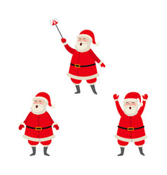 Cartoon santa making selfie standing set vector