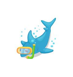 cartoon shark scuba diving underwater - isolated vector image