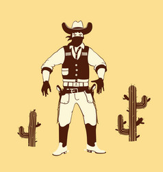 Cartoon style cowboy shooter vector
