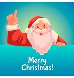 Christmas greeting card with cartoon Santa Claus vector image