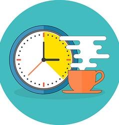 Coffee time concept Flat design Icon in turquoise vector image