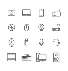 computer and electronic icons set vector image
