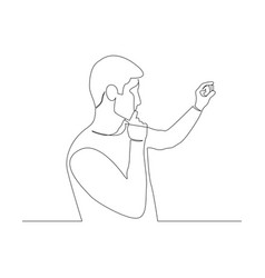 Continuous one line man hold and look at pill vector