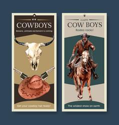 Cowboy flyer design with cow skull gun hat horse vector