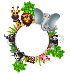cute animal cartoon collection with blank sign and vector image