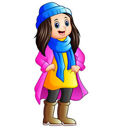 Cute girl wearing winter clothes vector
