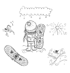 Cute girl with snowboard sketch for your design vector