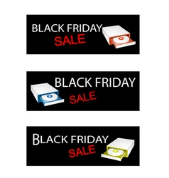 Disk Drive on Black Friday Sale Banners vector image