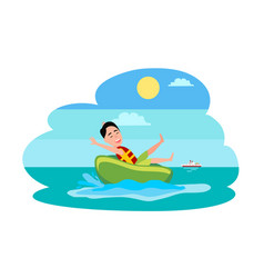 Donut ride watersport activity boy in water vector