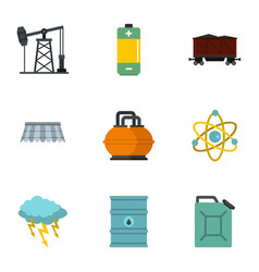 Energy icon set flat style vector