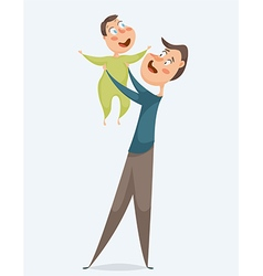 father with baby funny cartoon characters vector image