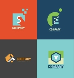 Flat letter logo icon set vector image