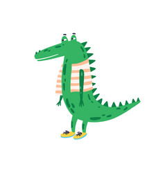 Funny childish crocodile in shoes and vest vector