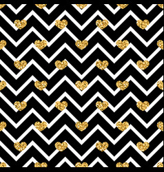 gold heart seamless pattern black-white geometric vector image