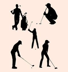 golfer detail silhouette 03 vector image