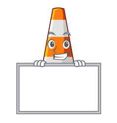 Grinning with board traffic cone on road cartoon vector