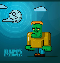 Halloween full moon night card with frankenstein vector