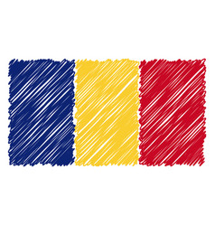 Hand drawn national flag of romania isolated on a vector