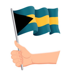 Hand holding and waving national flag of vector