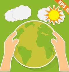 Hand holding earth with green ecology - - EP vector