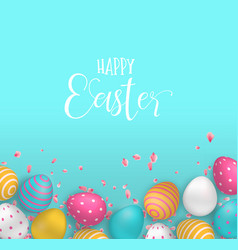 happy easter card cute eggs and spring flower vector image
