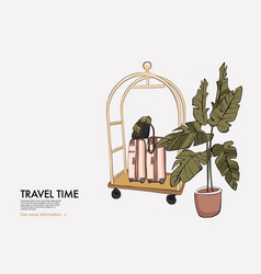 Hotel trolley with luggage check bag cart in vector