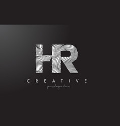 Hr h r letter logo with zebra lines texture vector