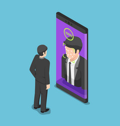 Isometric businessman use face scaning to unlock vector