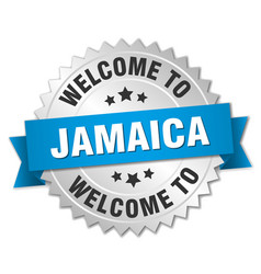Jamaica 3d silver badge with blue ribbon vector