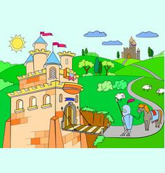 Kids cartoon knightly castle vector