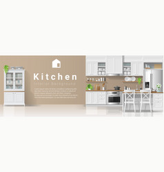 Kitchen in modern rustic style background vector