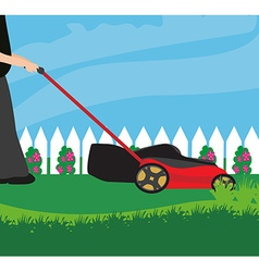 Lawn mower with grass vector