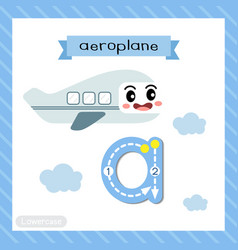 Letter a lowercase tracing aeroplane vector