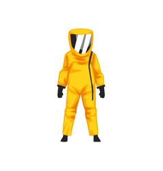 Man in radiation protective suit and helmet vector